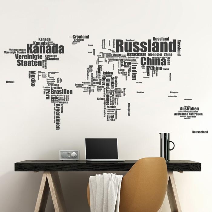 Wandtattoo Weltkarte Aus Worten