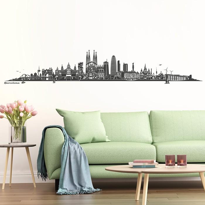 wandtattoo skyline barcelona. Black Bedroom Furniture Sets. Home Design Ideas
