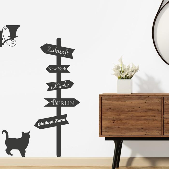 wandtattoo wegweiser. Black Bedroom Furniture Sets. Home Design Ideas