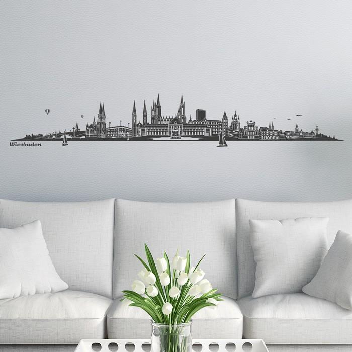wandtattoo skyline wiesbaden ohne fluss. Black Bedroom Furniture Sets. Home Design Ideas