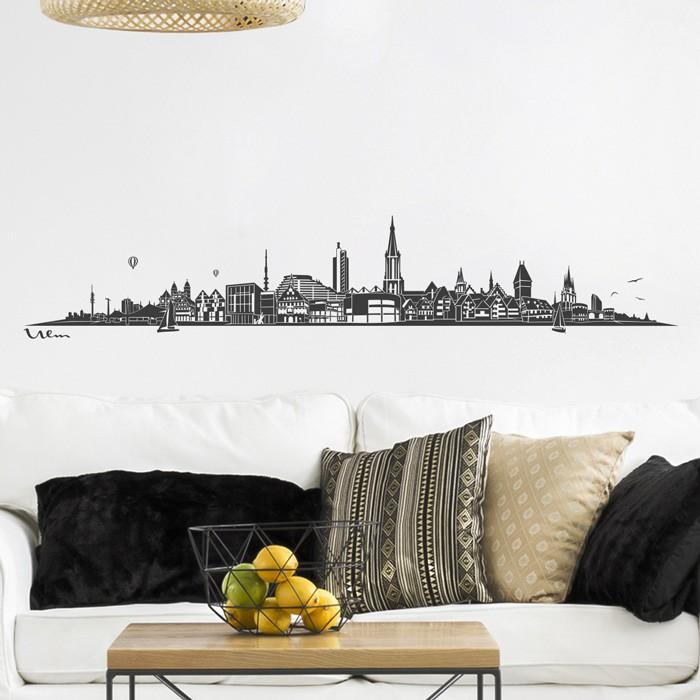 wandtattoo skyline ulm ohne fluss. Black Bedroom Furniture Sets. Home Design Ideas