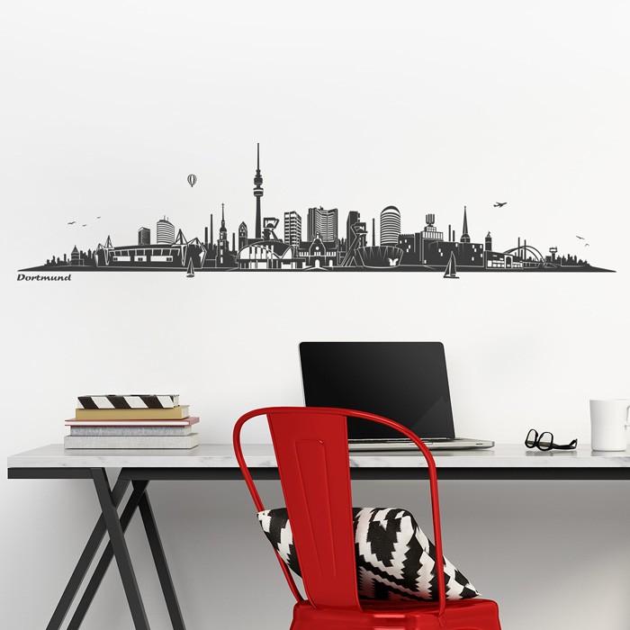 wandtattoo skyline dortmund ohne fluss. Black Bedroom Furniture Sets. Home Design Ideas