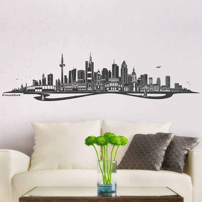 wandtattoo skyline frankfurt mit fluss. Black Bedroom Furniture Sets. Home Design Ideas