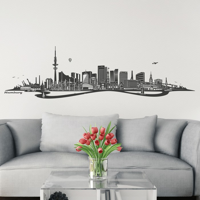 wandtattoo skyline hamburg mit fluss. Black Bedroom Furniture Sets. Home Design Ideas