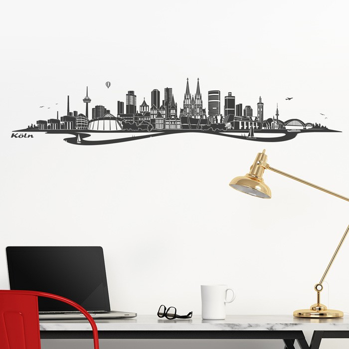 wandtattoo skyline k ln mit fluss. Black Bedroom Furniture Sets. Home Design Ideas
