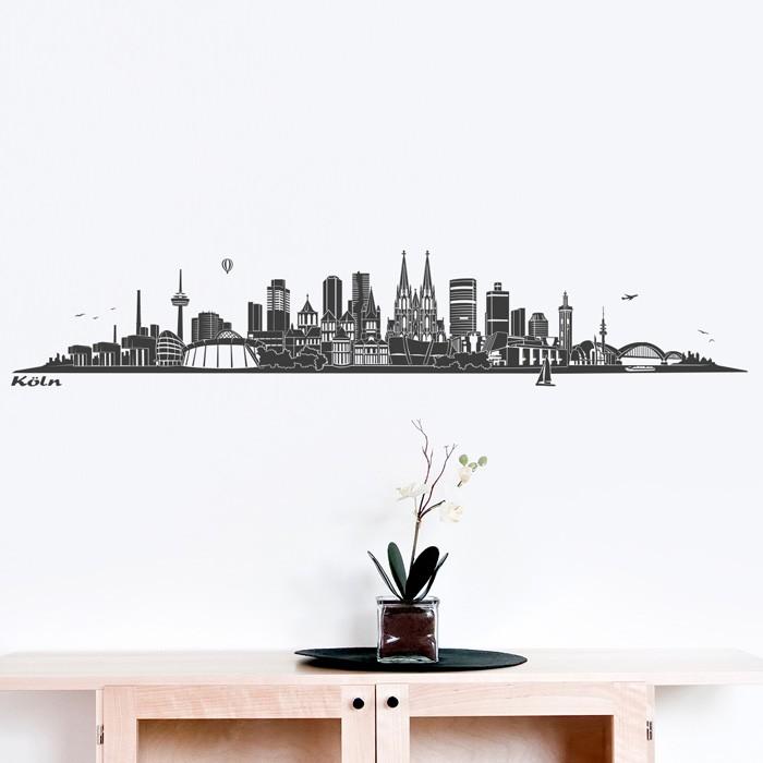 wandtattoo skyline k ln ohne fluss. Black Bedroom Furniture Sets. Home Design Ideas