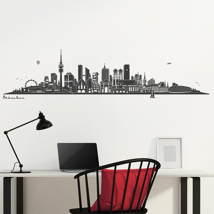 wandtattoo m nchen skyline. Black Bedroom Furniture Sets. Home Design Ideas