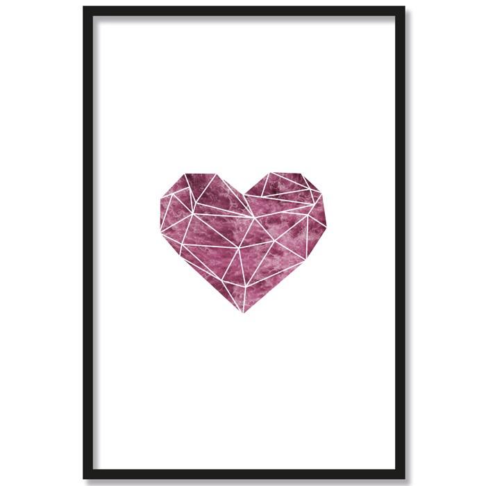 Poster Origami Herz Farbe, mit Rahmen