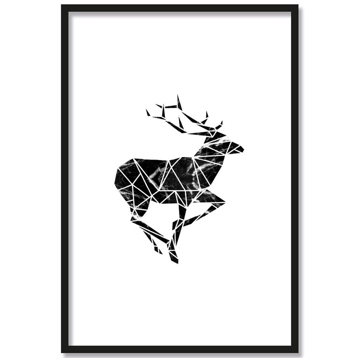 Poster Origami Hirsch Farbe, mit Rahmen
