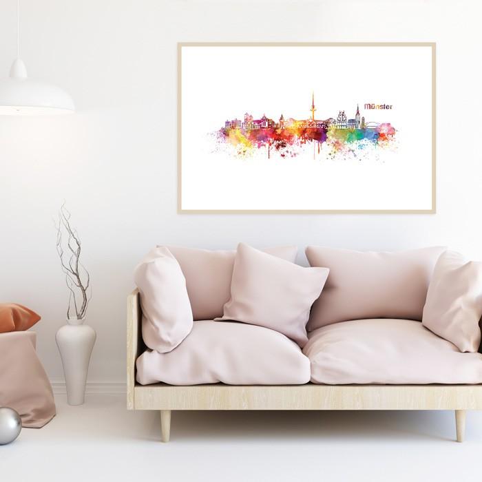 Poster Skyline Münster Aquarell, mit Rahmen