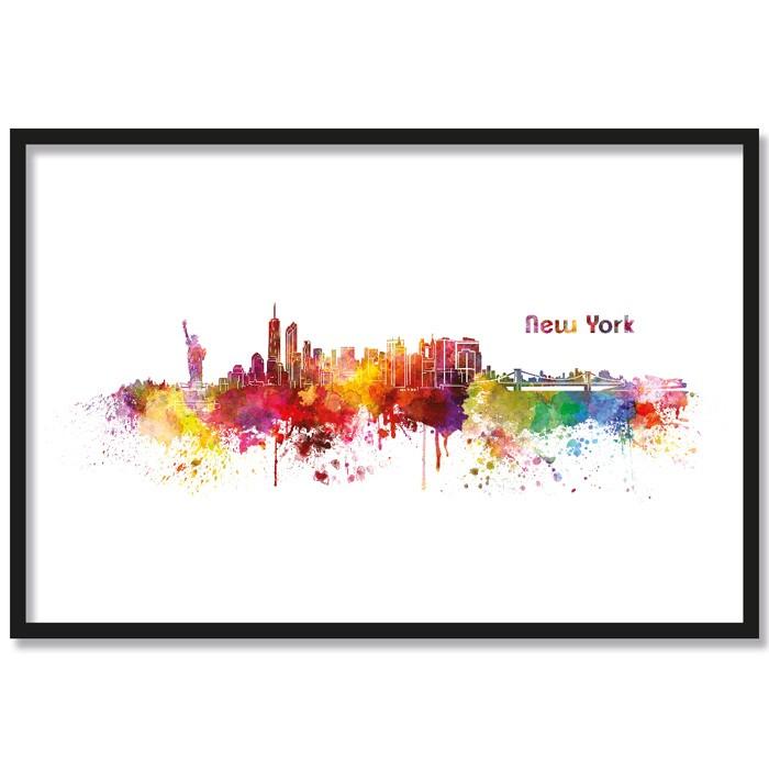 Poster Skyline New York Aquarell, mit Rahmen