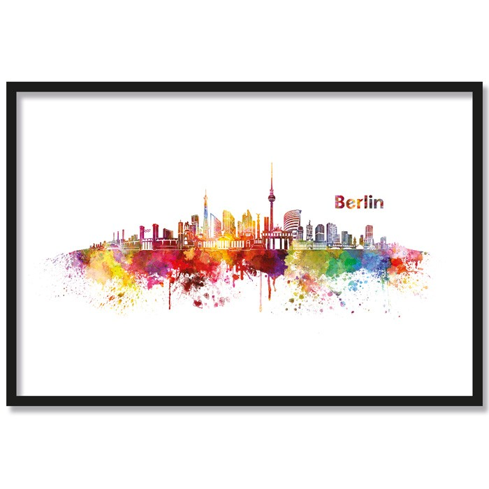 Poster Skyline Berlin Aquarell, mit Rahmen
