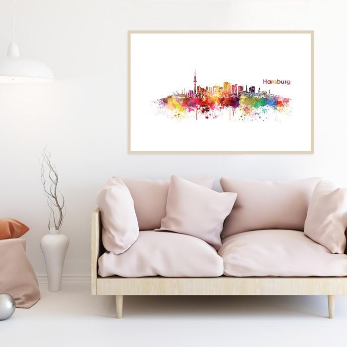 Poster Skyline Hamburg Aquarell, mit Rahmen