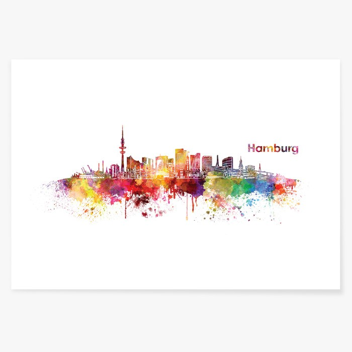 poster skyline hamburg aquarell. Black Bedroom Furniture Sets. Home Design Ideas