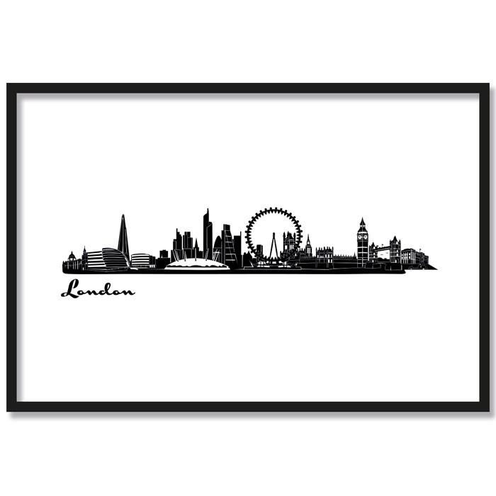 Poster Skyline London, mit Rahmen