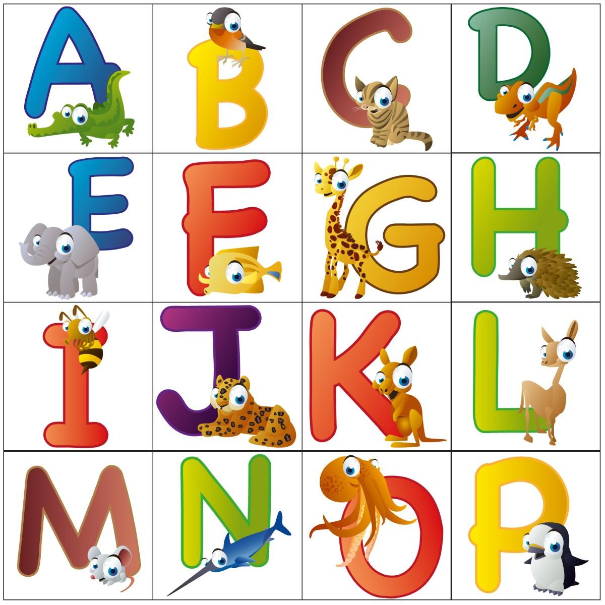 wandsticker lustige tierbuchstaben englisch