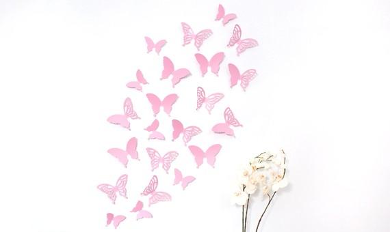 Wandtattoo 3d Schmetterlinge Rosa Mit Ornamenten Muster