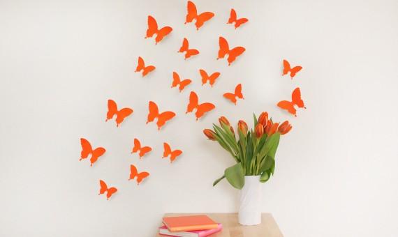 wandtattoo 3d schmetterlinge neon orange. Black Bedroom Furniture Sets. Home Design Ideas