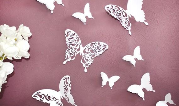 Wandtattoo 3d Schmetterlinge Weiß Mit Muster 12er Set