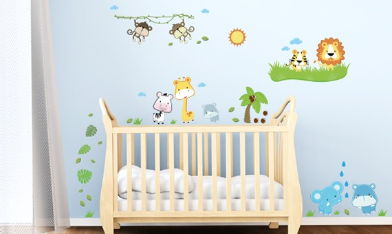 wandsticker set xl baby safari tiere. Black Bedroom Furniture Sets. Home Design Ideas