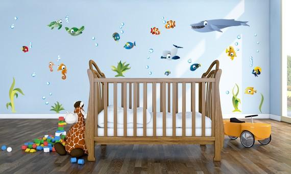 Wandsticker set xl unterwasserwelt - Wandtattoo unterwasserwelt kinderzimmer ...