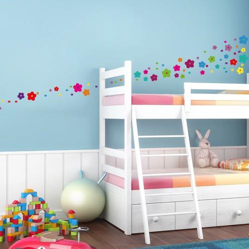wandsticker set a4 bunte blumen design 6. Black Bedroom Furniture Sets. Home Design Ideas