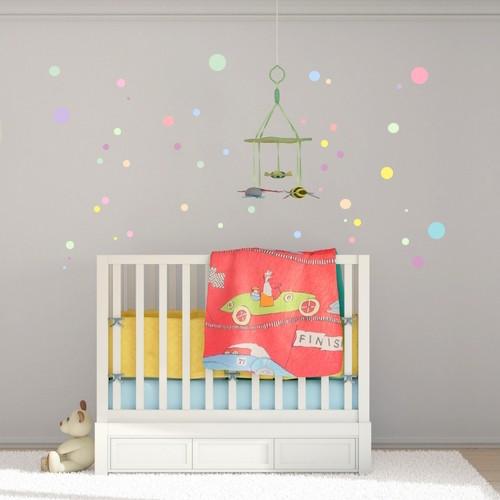wandsticker set a4 pastell punkte. Black Bedroom Furniture Sets. Home Design Ideas