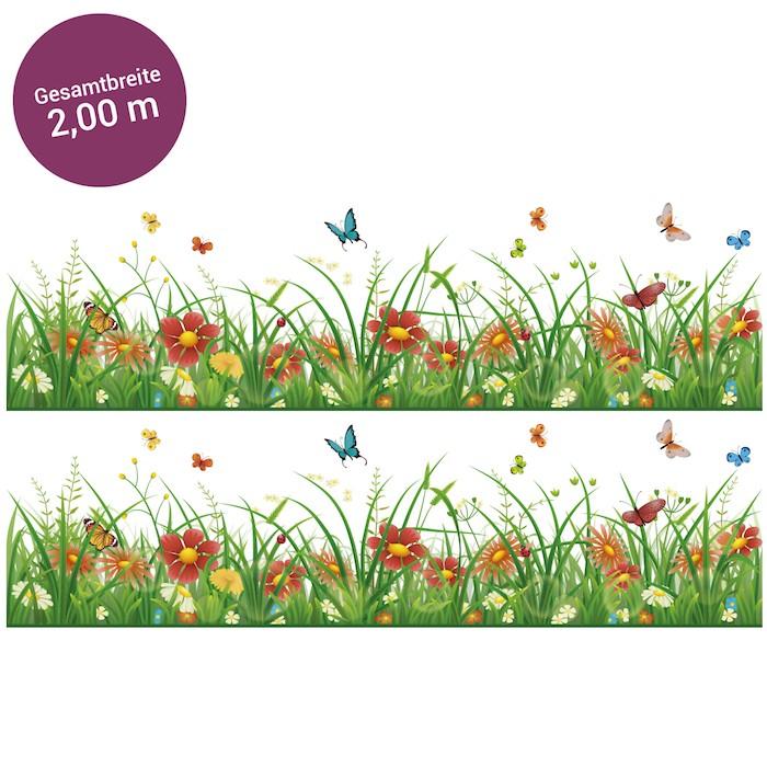 Bord re gras mit bunten blumen transparent 2 m - Fliesenaufkleber gras ...