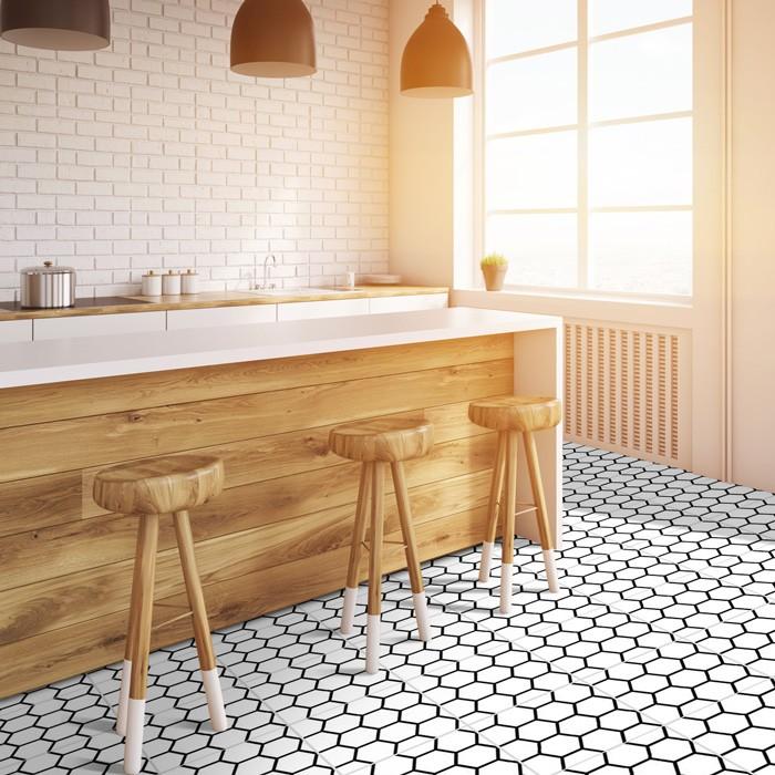 bodenfliesenaufkleber 4er set waben. Black Bedroom Furniture Sets. Home Design Ideas