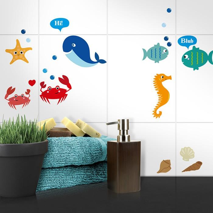 Fliesenaufkleber Set A4 - Süße bunte Meeresbewohner