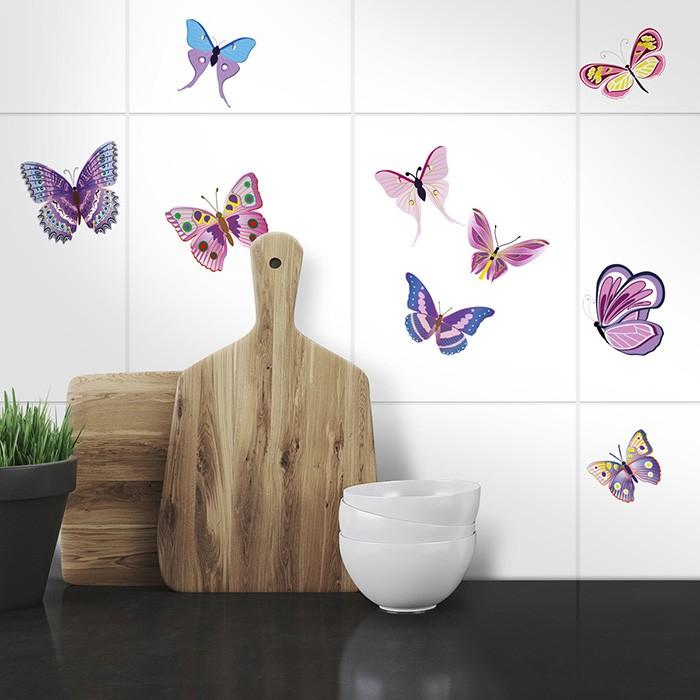Fliesenaufkleber Set A4 - bunte Schmetterlinge