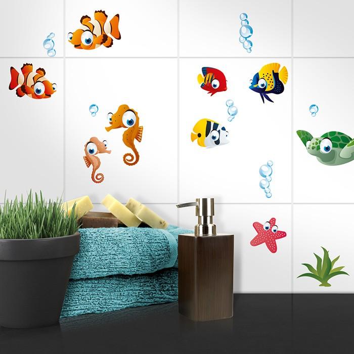 fliesenaufkleber set a4 kleine unterwasserwelt. Black Bedroom Furniture Sets. Home Design Ideas