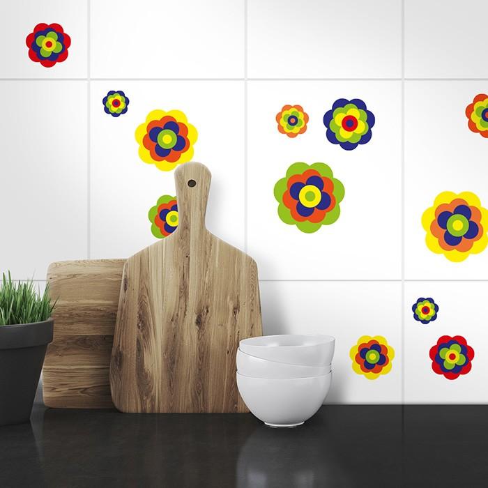 Fliesenaufkleber Set A4 - retro Blumen