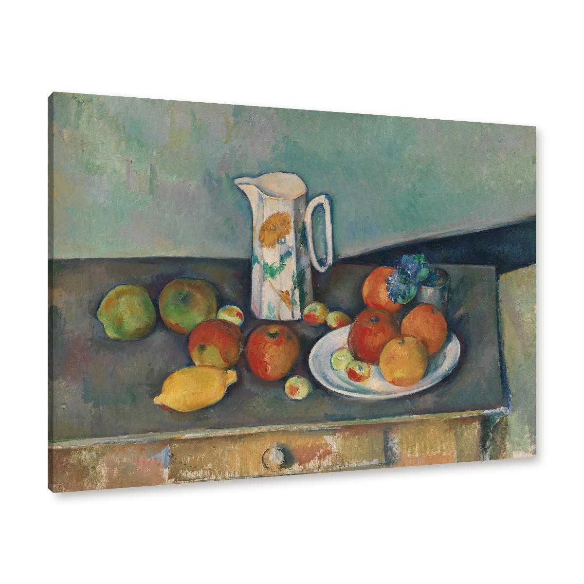 Tisch gezeichnet  Paul Cézanne - Stillleben mit Milchkrug und Früchten auf einem Tisch