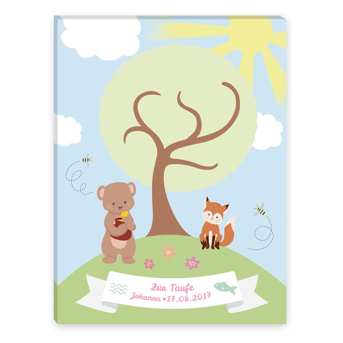 Leinwandbild Zur Taufe Mit Baum Bärchen Und Fuchs