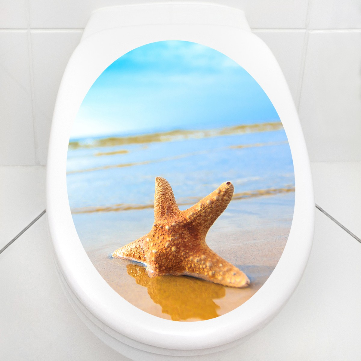 wc aufkleber starfish on the beach. Black Bedroom Furniture Sets. Home Design Ideas