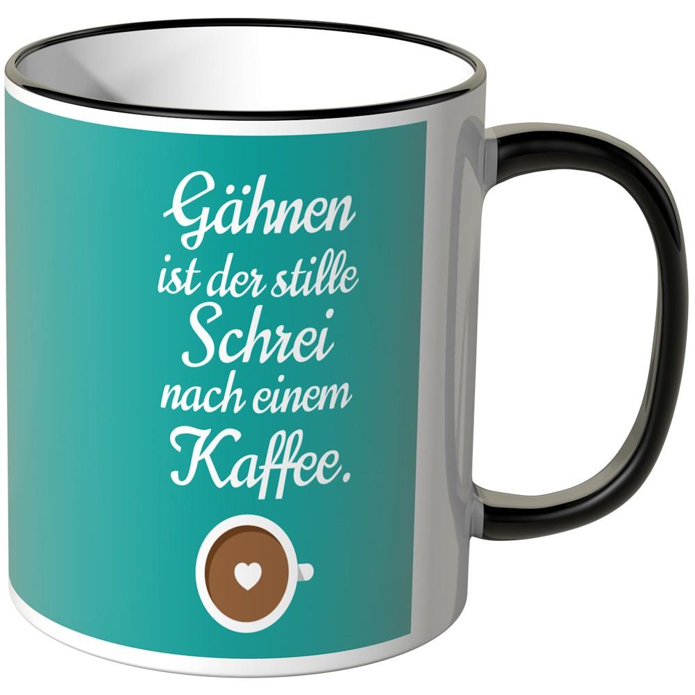 Juniwords tasse g hnen ist der stille schrei nach einem kaffee - Fliesensticker kaffee ...