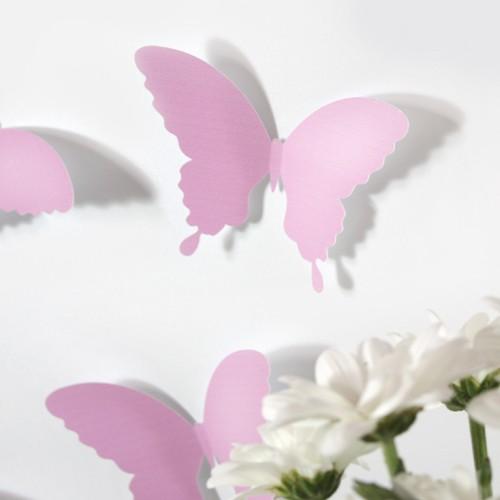 Wandtattoo 3d schmetterlinge rosa for Kleine fliegen blumen