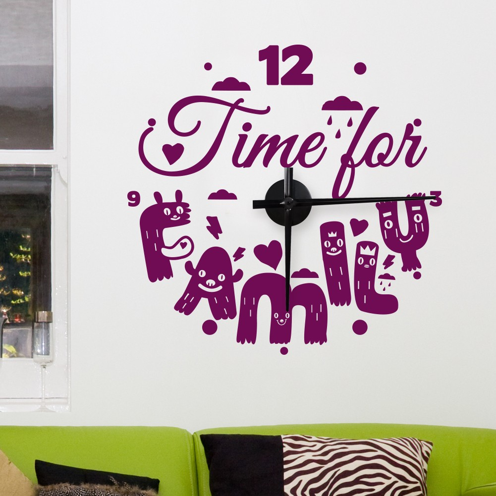 Wandtattoo uhr time for family - Wandtattoo family ...