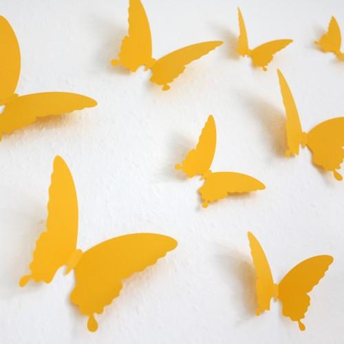 Wandtattoo 3d schmetterlinge gelb for Gelbe tafeln