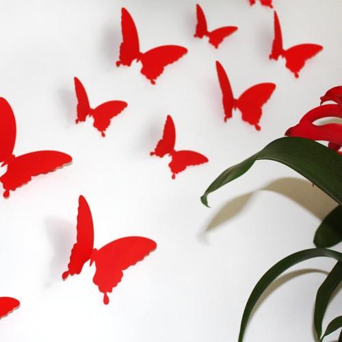 Küchenrollenhalter Wand Rot ~ wandtattoo 3d schmetterlinge rot