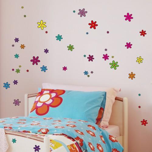 wandsticker set a4 bunte blumen design 1. Black Bedroom Furniture Sets. Home Design Ideas
