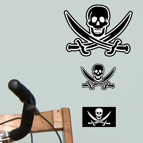 wandsticker set a4 piraten flagge totenkopf. Black Bedroom Furniture Sets. Home Design Ideas