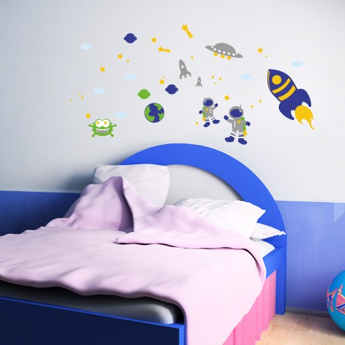 wandsticker set a4 bunter weltraum. Black Bedroom Furniture Sets. Home Design Ideas