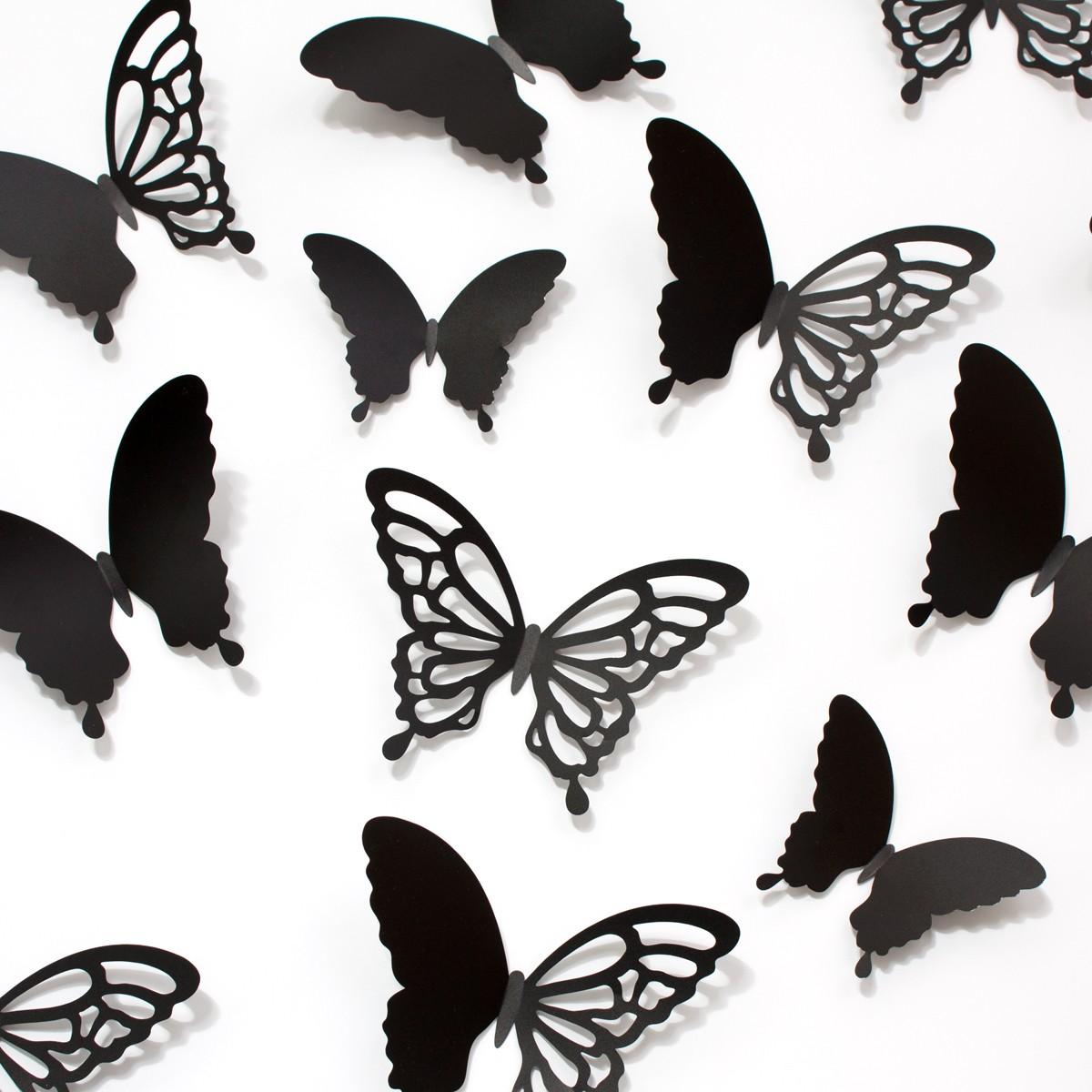 Wandtattoo 3D Schmetterlinge schwarz mit Ornamenten Muster
