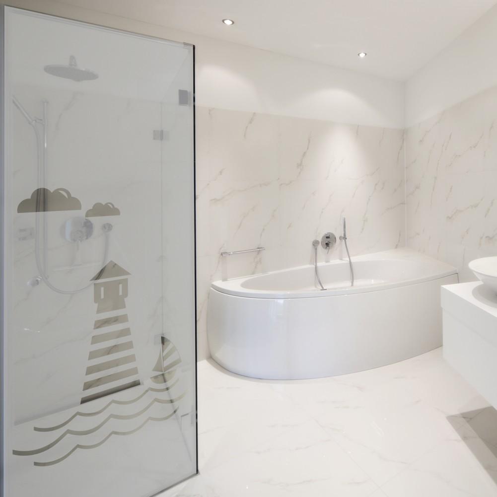milchglasfolie banner leuchtturm 211 cm h he. Black Bedroom Furniture Sets. Home Design Ideas