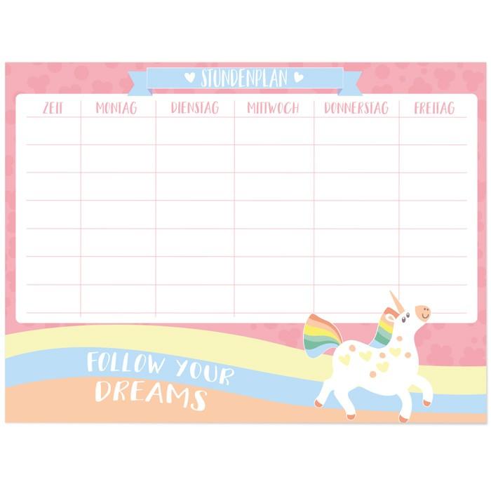 Whiteboard Stundenplan Einhorn Follow Your Dreams