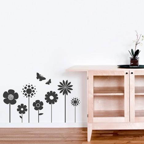 Wandtattoo Blumenreihe