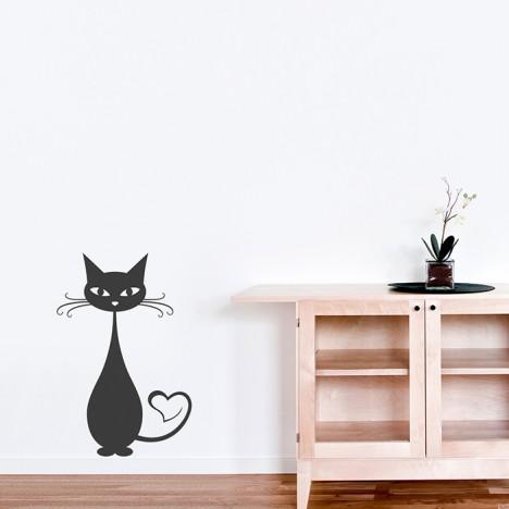 Wandtattoo Katze mit Herzschwanz