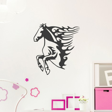 Pferd mit Flammenmähne Wandtattoo